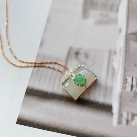 A-Grade Natural Jadeite Bespoke Camera Pendant (18k White Gold With Diamonds) No .170738