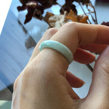SOLD OUT: A-Grade Type A Natural Pastel Green Jadeite Jade Abacus Ring Band No.161307