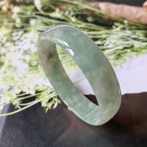 53.5mm A-Grade Natural Green Jadeite Modern Round Bangle No.151446