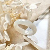A-Grade Natural White Jadeite Ring Band No.161524