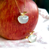 Icy A-Grade Type A Natural White Jadeite Jade Apple Pendant (18k Champagne Gold) No.170534