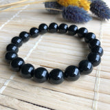 SOLD OUT: 9.2mm A-Grade Type A Natural Black Omphacite Jadeite Jade Beaded Bracelet No.190118