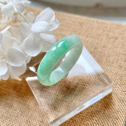 15.8mm A-Grade Natural Moss On Snow Jadeite Abacus Ring Band No.161536