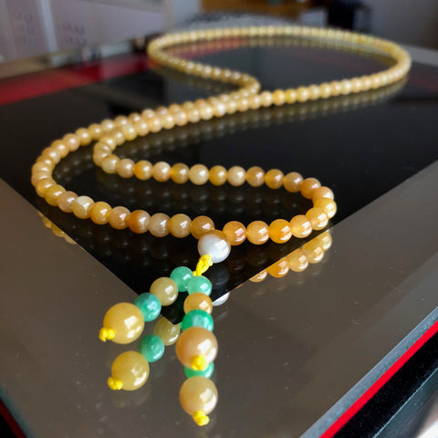 5.4mm A-Grade Type A Natural Golden Yellow Jadeite Jade Beaded Bracelet/ Necklace No.190116