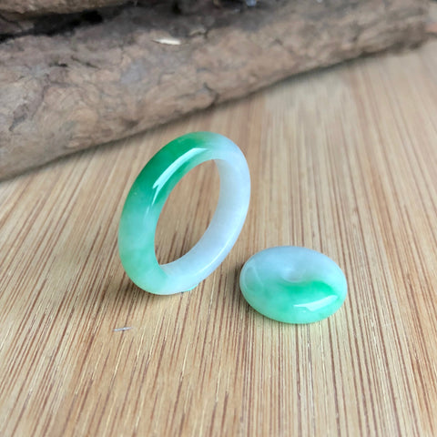 A-Grade Type A Natural Moss on Snow Jadeite Jade Abacus Ring and Donut Set No.161310