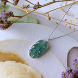 SOLD OUT: Icy A-Grade Natural Bluish Green Jadeite Bespoke Leaf Pendant No.170746