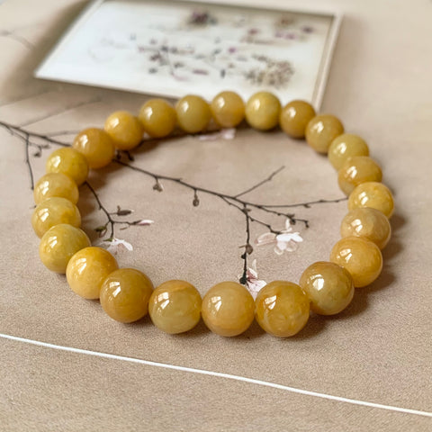 8mm A-Grade Natural Yellow Jadeite Beaded Bracelet No.190289