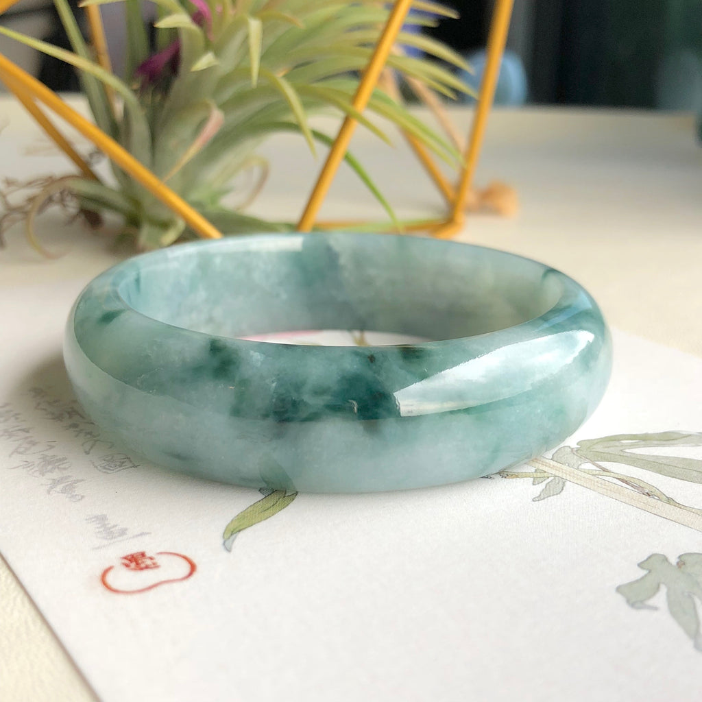 SOLD OUT: 54.5mm A-Grade Type A Natural Floral Bluish Green Jadeite Jade Modern Round Bangle No.151504