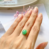 3.55ct A-Grade Natural Moss On Snow Jadeite Oval Cabochon No.130214