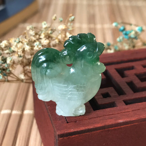 SOLD OUT: A-Grade Type A Natural Jadeite Jade Green Rooster Pendant No.170256