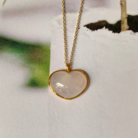 Icy A-Grade Pink Jadeite Bespoke Heart Pendant (18k Champagne Gold) No.171569