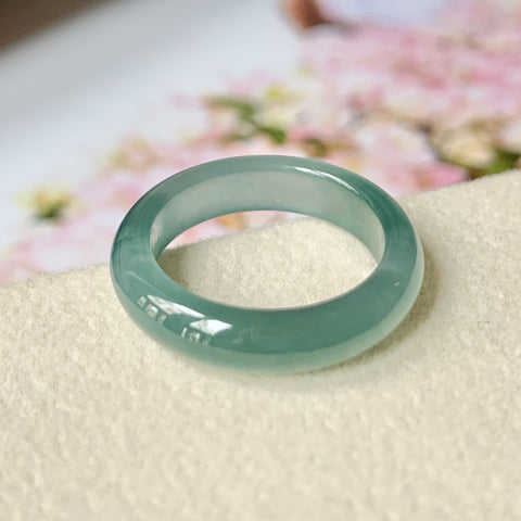 15.6mm A-Grade Natural Bluish Green Jadeite Abacus Ring Band No.162013
