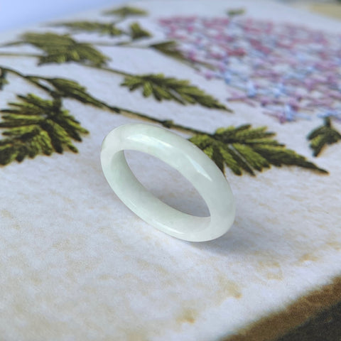 SOLD OUT: A-Grade Natural White Jadeite Thin Abacus Ring Band No.161370