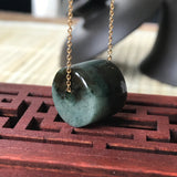 SOLD OUT: A-Grade Type A Natural Jadeite Jade Barrel Pendant No.170261