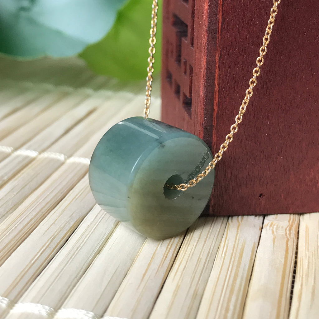 SOLD OUT: A-Grade Type A Natural Jadeite Jade Barrel Pendant No.170262