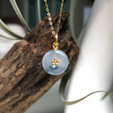 SOLD OUT: Icy A-Grade Type A Natural Bluish Lavender Jadeite Jade Mini Donut Pendant (18k Yellow Gold) No.170536