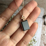 "A-Grade Type A Natural Omphacite Jadeite Jade ""Chanel COCO NOIR"" Baguette Cut Pendant (18k Rose Gold) No.170538"