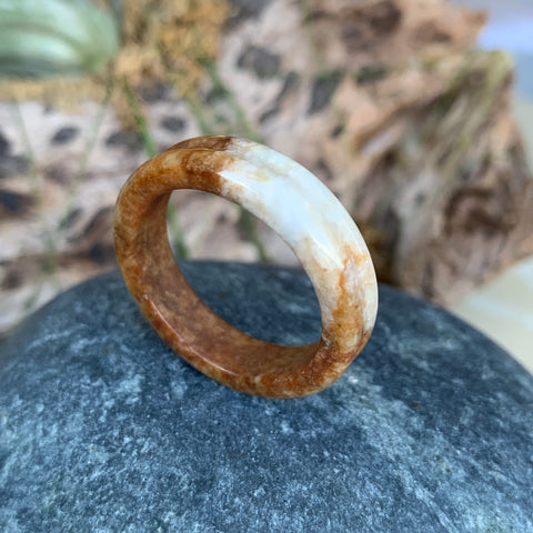 A-Grade Natural Brownish Red Jadeite Ring Band No.161375