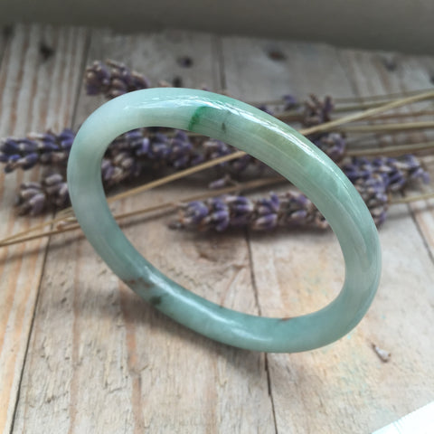 49.7mm A-Grade Type A Jadeite Jade Oval Bangle No.151345