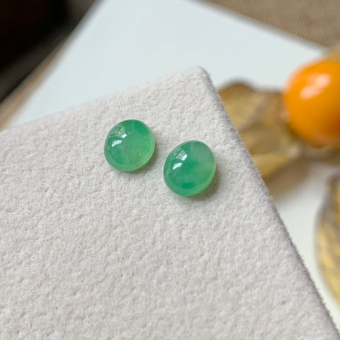 SOLD OUT: 1.90cts A-Grade Natural Green Jadeite Cabochon Pair No.180114