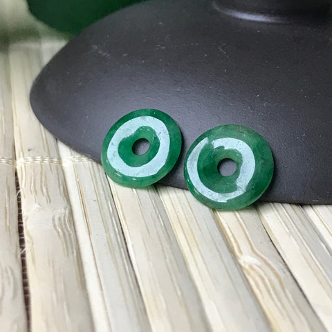 SOLD OUT: Imperial Green A-Grade Type A Natural Jadeite Jade Mini Donut Earrings Pair No.180034