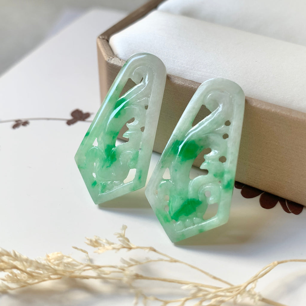 A-Grade Natural Moss On Snow With Carving Jadeite Earring Pair No.180195