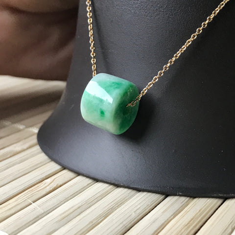 SOLD OUT: A-Grade Type A Natural Jadeite Jade Barrel Pendant No.170264