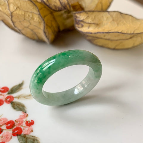 15.9mm A-Grade Natural Moss on Snow Jadeite Abacus Ring Band No.161528