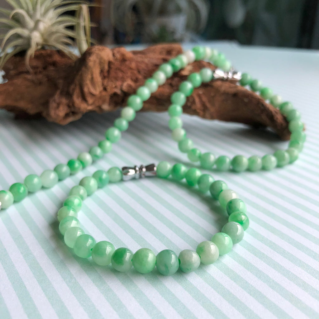 5.8mm A-Grade Type A Natural Moss on Snow Jadeite Jade Beaded Kid's Bracelet No.190124