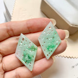 A-Grade Natural Moss On Snow Jadeite Earring Pair No.180194