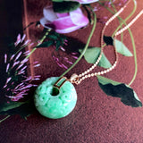 SOLD OUT: A-Grade Type A Natural Moss on Snow Jadeite Jade Barrel Pendant with Carvings No.170541