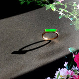 Icy Emerald Green A-Grade Type A Natural Jadeite Jade Scroll Ring (18k Rose Gold and Diamonds)No.161311