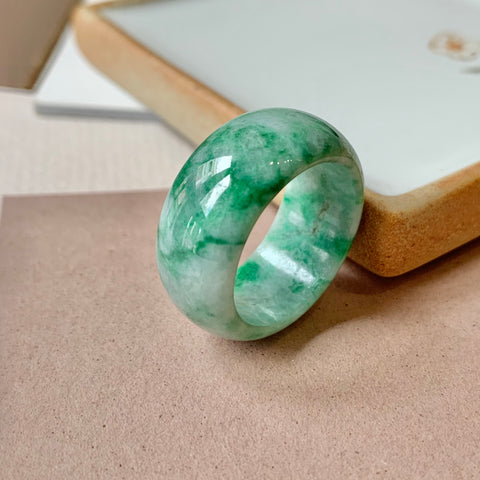 SOLD OUT: 19mm A-Grade Natural Jadeite Abacus Ring Band No.162014