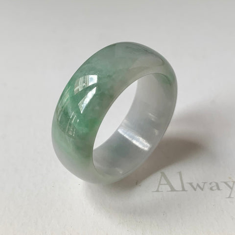 18.8mm A-Grade Natural Jadeite Abacus Ring Band No.162016