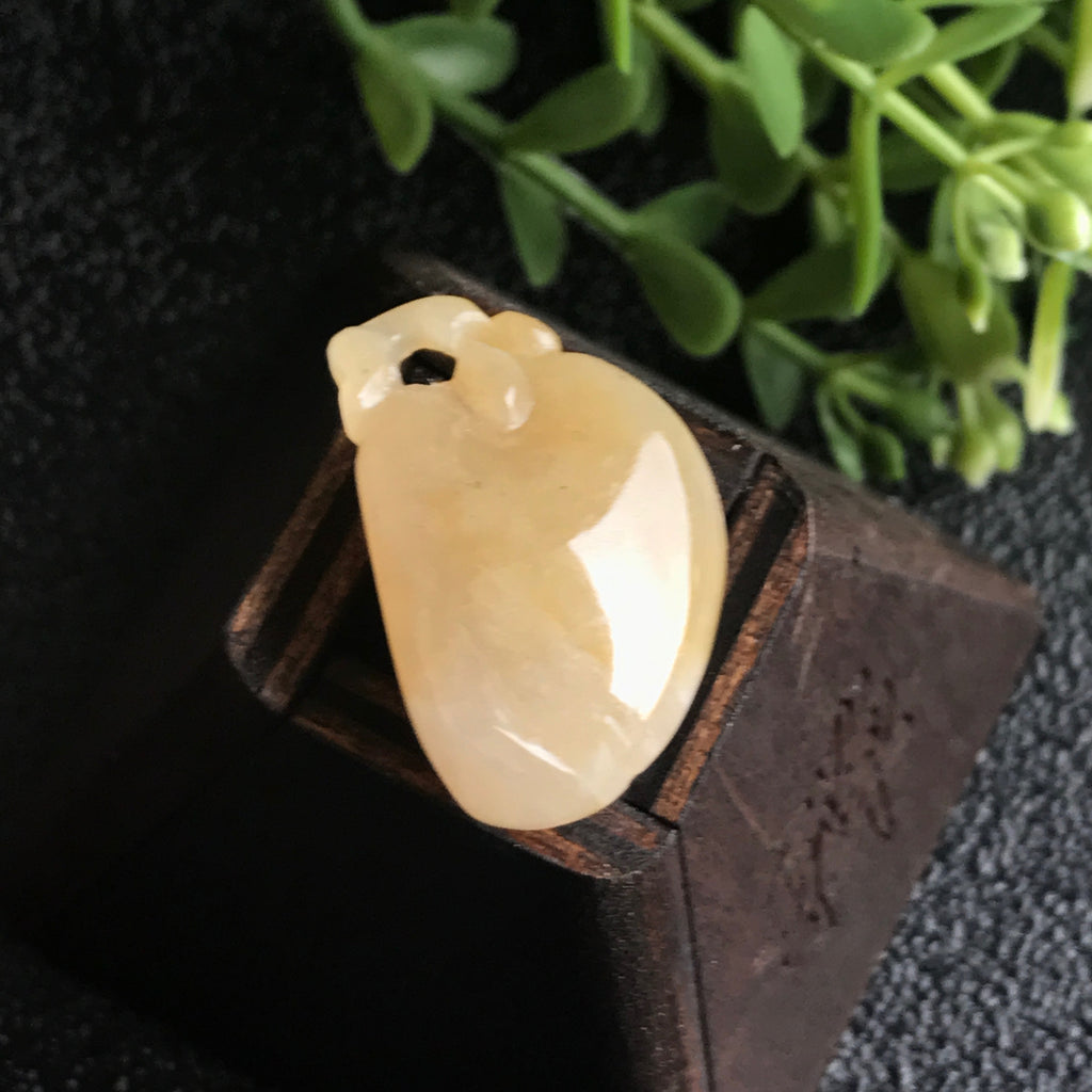 SOLD OUT: A-Grade Type A Natural Jadeite Jade Yellow Peach Pendant No.170273