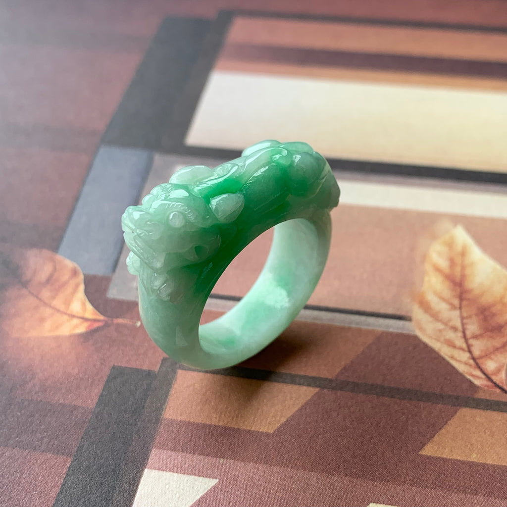 A-Grade Natural Moss On Snow Jadeite Ring Band  With Carving Of Pixiu No.161377