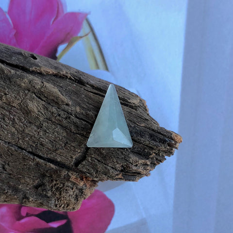 Icy A-Grade Type A Natural Gray Jadeite Jade Faceted Triangle Piece No.130056