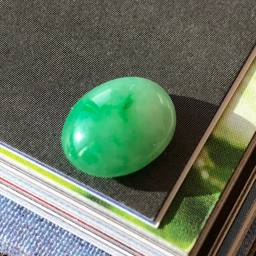 A-Grade Type A Natural Moss on Snow Jadeite Jade Oval Cabochon Piece No.130060