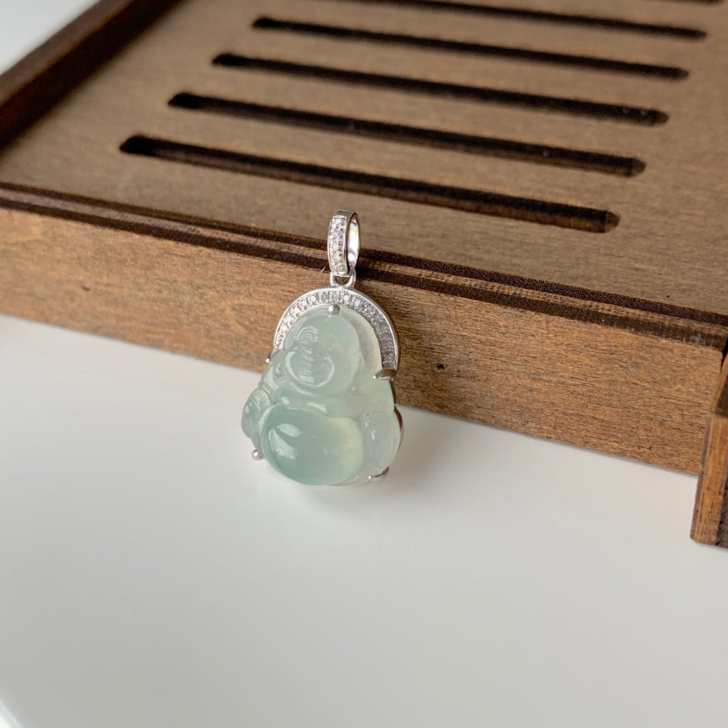 Icy A-Grade Natural Floral Jadeite Buddha Pendant (18k White Gold with Diamonds) No.170731