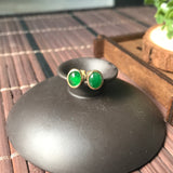 SOLD OUT: Imperial Green A-Grade Type A Natural Jadeite Jade Oval Cabochon Stud Earrings No.180036