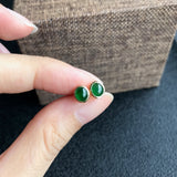 SOLD OUT: Imperial Green A-Grade Type A Natural Jadeite Jade Oval Cabochon Stud Earrings No.180038