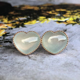 Icy A-Grade Type A Natural Jadeite Jade Heart Shape Earring Stud (18k rose gold) No.180095