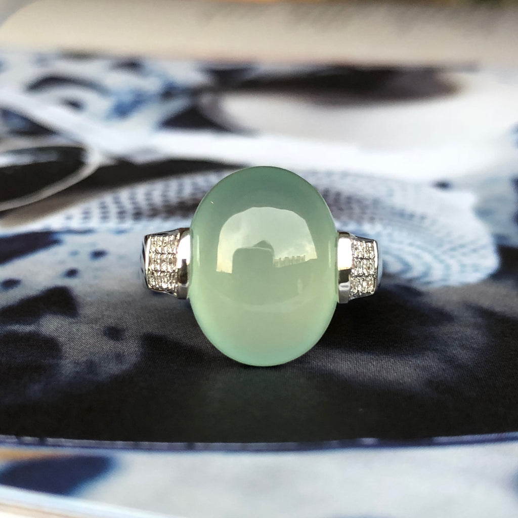 Icy Jadeite Bespoke Oval Cabochon Ring No.161318