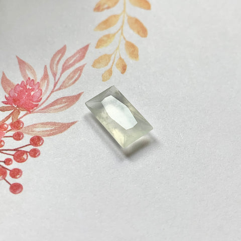 1.9ct Icy A-Grade Natural Clear Colourless Jadeite Rectangular Radiant Cut No.130223