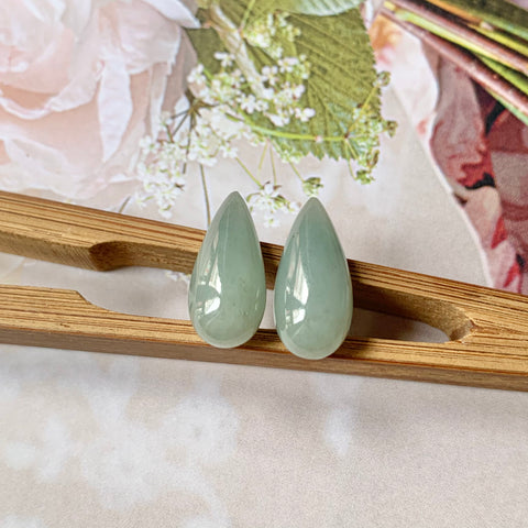 14.75ct A-Grade Natural Greenish Blue Jadeite Pear (Droplet) Pair No.180340