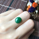 A-Grade Type A Natural Green Jadeite Jade Oval Cabochon No.130002