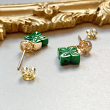 A-Grade Natural Imperial Green Jadeite Little Nonya Stud Earring No.180167