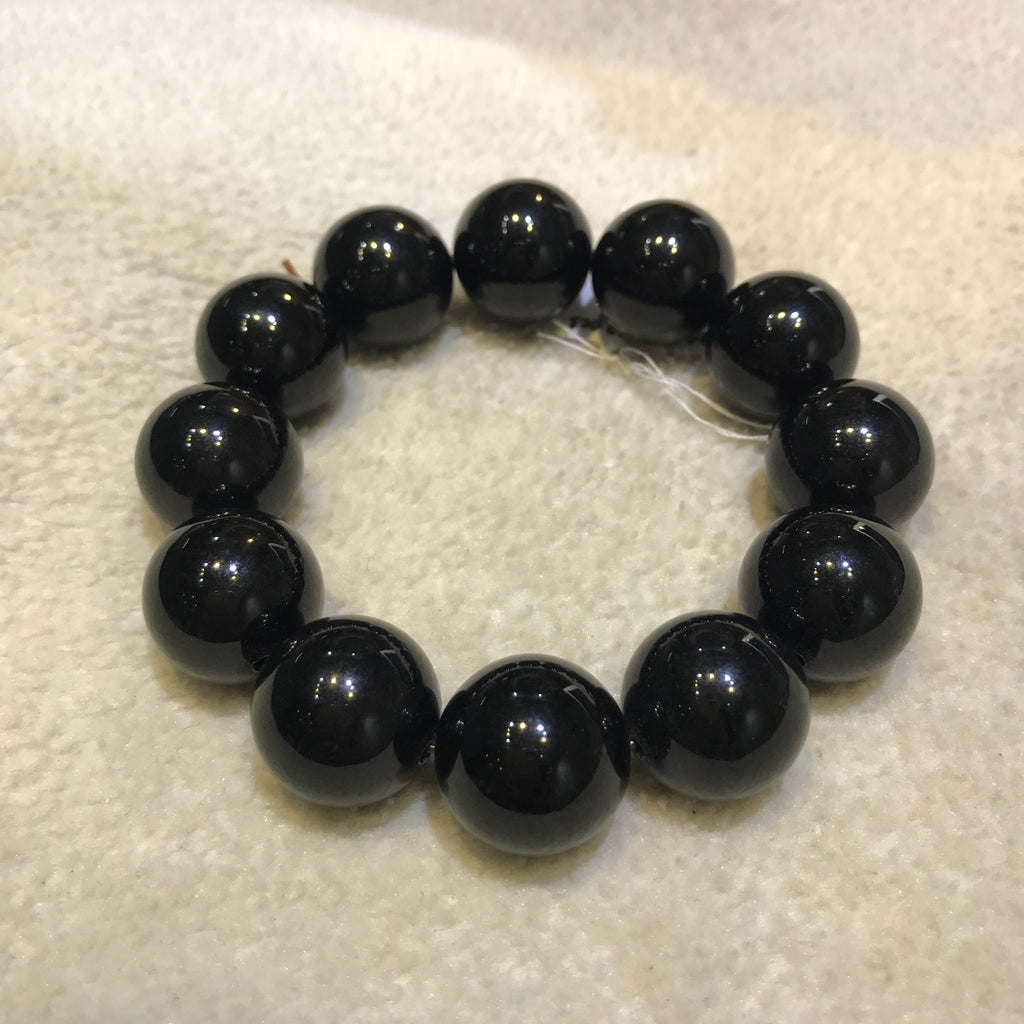 SOLD OUT: 18mm A-Grade Type A Natural Omphacite Jadeite Jade Beaded Bracelet No.190046