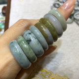 A-Grade Type A Natural Jadeite Jade Abacus Ring No.161320 & 161321