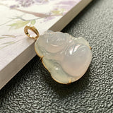 SOLD OUT: Icy A-Grade Type A Natural Lilac Jadeite Jade Buddha Pendant No.170393